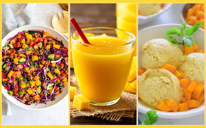 Mango Salad, Desserts, Juices